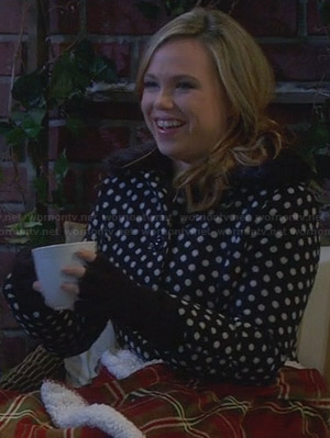 Kristin's polka dot coat with fur collar on Last Man Standing