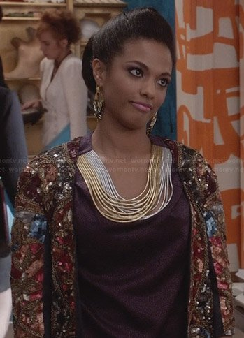 Larissa's cord detail blouse and crystal embellished jacket on The Carrie Diaries