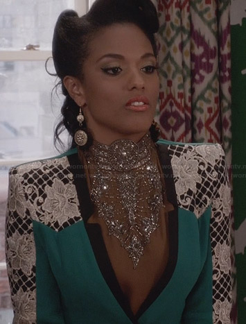 Larissa's green lace detail blazer and tan embellished top on The Carrie Diaries