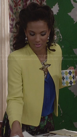 Larissa's yellow notched jacket on The Carrie Diaries