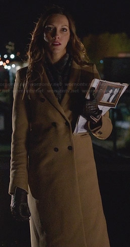 Laurel's long tan coat on Arrow