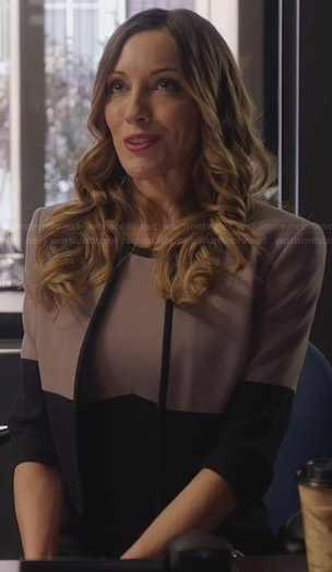 Laurel's colorblock dress and cropped jacket on Arrow