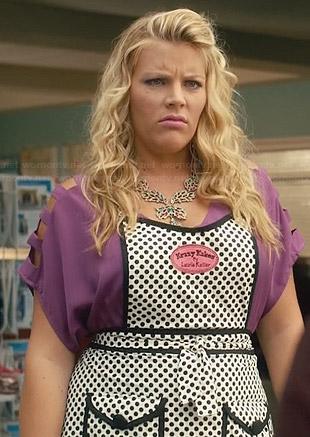 Jules's red sleeveless blouson dress on Cougar Town