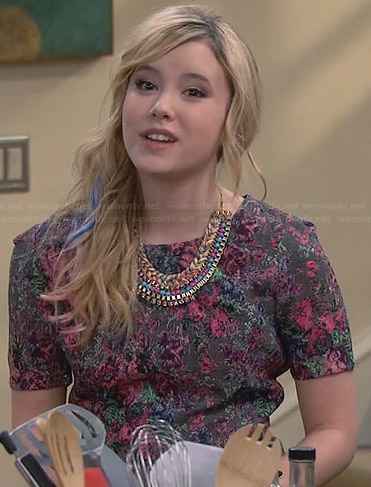 Lennox's grey floral peplum top on Melissa and Joey