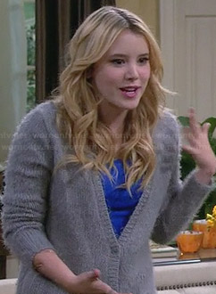 Lennox's grey fluffy cardigan on Melissa and Joey