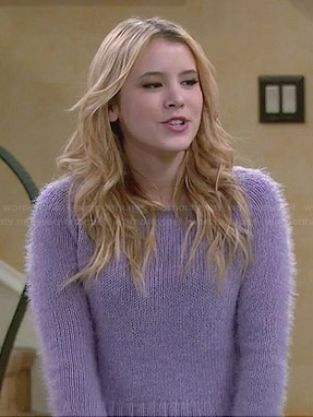 Lennox's purple fluffy sweater on Melissa and Joey