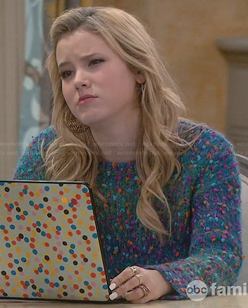 Lennox's blue textured sweater on Melissa and Joey
