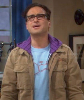 Leonard's blue adrenaline molecule tee on The Big Bang Theory