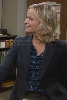 Leslie's blue floral striped shirt on Parks and Recreation