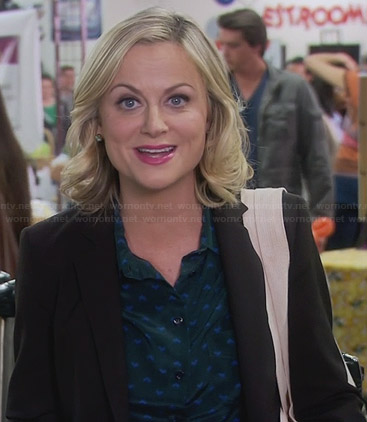 Leslie's green and blue printed blouse on Parks and Recreation