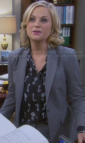 Leslie's key print blouse on Parks & Rec