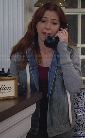 Lily's denim hooded jacket with grey sleeves on How I Met Your Mother