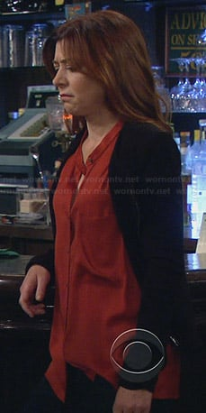 Lily's orange button front blouse on How I Met Your Mother