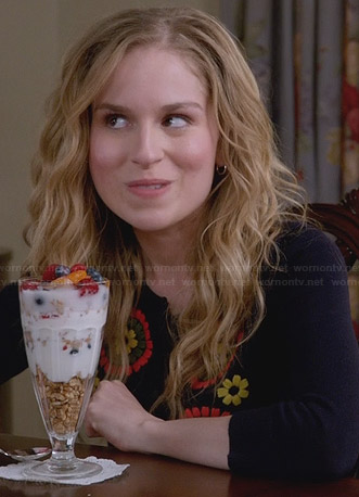Lisa's navy blue flower cardigan on Suburgatory