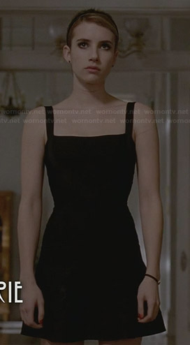 Madison's black square neck flared dress on American Horror Story