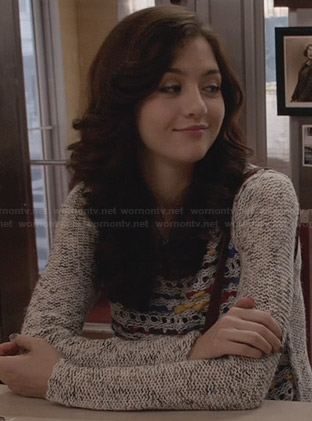 Maggie's grey mixed knit sweater on The Carrie Diaries
