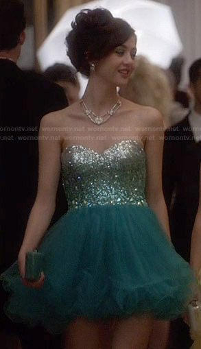 Maggie's teal green ombre prom dress on The Carrie Diaries