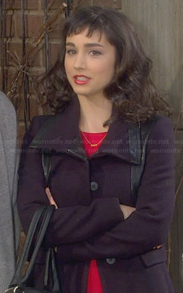 Mandy's black leather trimmed coat on Last Man Standing
