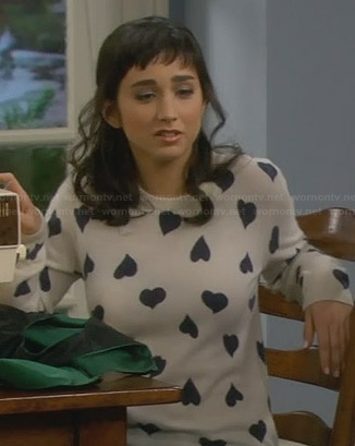 Mandy's heart print sweater on Last Man Standing
