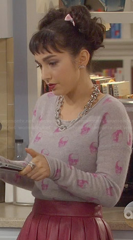 Mandy's pink skull sweater on Last Man Standing