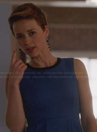 Margaux's blue dress with black neckline on Revenge
