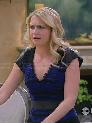 Melissa's blue tweed dress with leather shoulders on Melissa & Joey