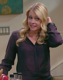 Melissa's purple blouse with leather cuffs on Melissa & Joey