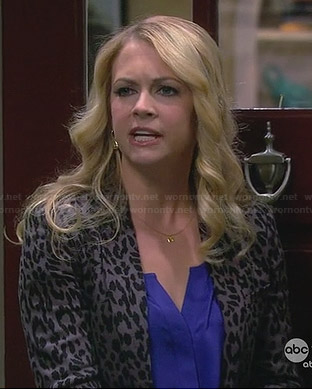 Mel's grey leopard print blazer on Melissa and Joey