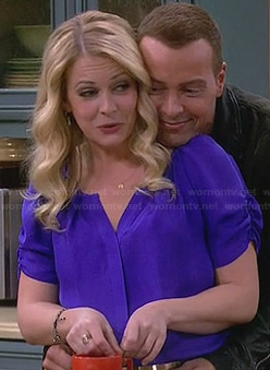Melissa's purple ruched sleeve blouse on Melissa & Joey