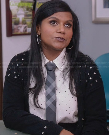 Mindy's pin dot shirt with checked tie and crystal studded cardigan on The Mindy Project