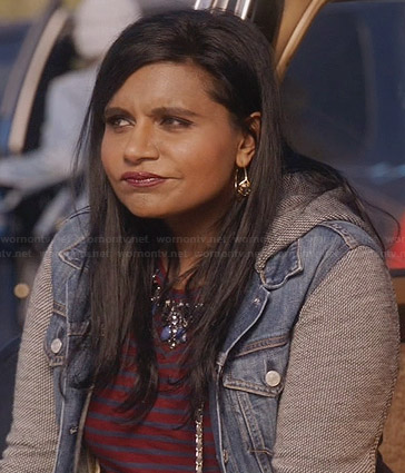 Mindy's denim jacket with grey sleeves and hood and red striped top on The Mindy Project