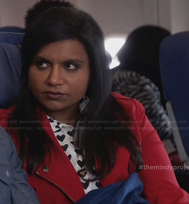 Mindy's white heart print shirt and red moto jacket on The Mindy Project