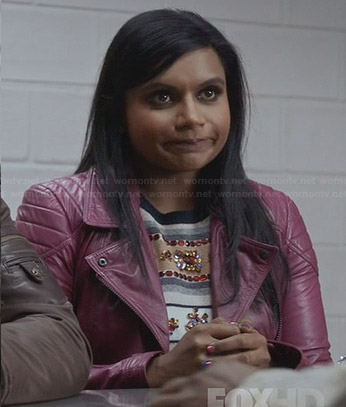 Mindy's purple leather jacket and embellished sweater on The Mindy Project