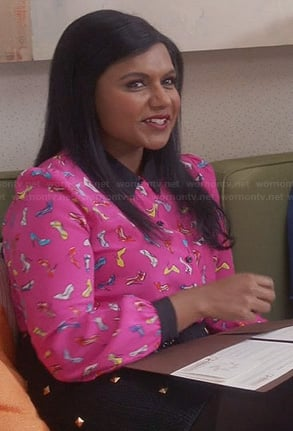 Mindy's pink shoe print top and studded skirt on The Mindy Project