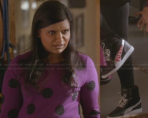 Mindy's purple polka dot sweater and wedge sneakers on The Mindy Project
