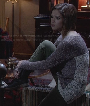 Miranda's brown lace back sweater on Ravenswood
