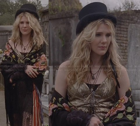Misty's gold embellished top and flag scarf on American Horror Story
