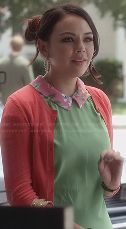 Mona's green top with pink floral collar on Pretty Little Liars