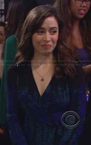 The Mother's black, green and blue printed wrap dress on How I Met Your Mother