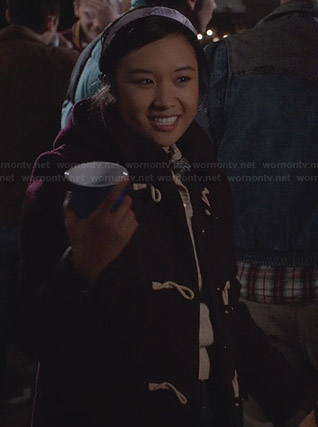 Mouse's burgundy toggle coat and purple bow headband on The Carrie Diaries