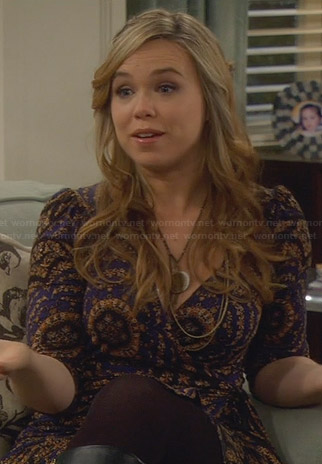Kristin's blue and yellow paisley print wrap dress on Last Man Standing