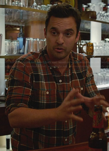 Nick's orange plaid shirt on New Girl