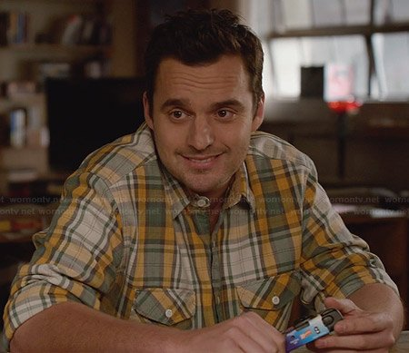 Nick's yellow and green plaid shirt on New Girl