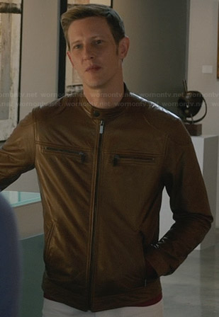 Nolan's tan leather jacket with zip pockets on Revenge