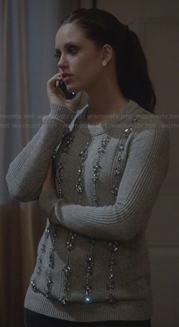 Olivia's grey embellished sweater on Ravenswood
