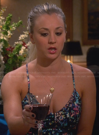 Penny's black floral spaghetti-strap dress on The Big Bang Theory