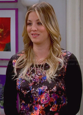 Penny's black and pink floral print sweater on The Big Bang Theory
