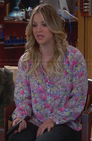 Penny's pink floral long sleeve blouse on The Big Bang Theory