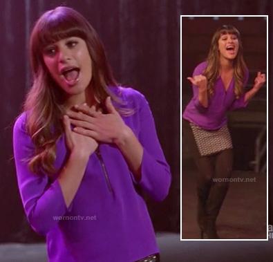 Rachel's purple zip front top and polka dot skirt on Glee