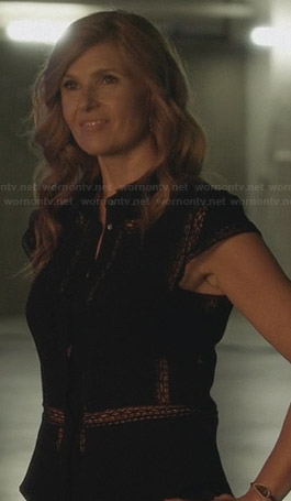 Rayna's black lace inset top on Nashville